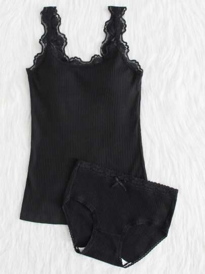 Lace Trim Ribbed Vest With Panty