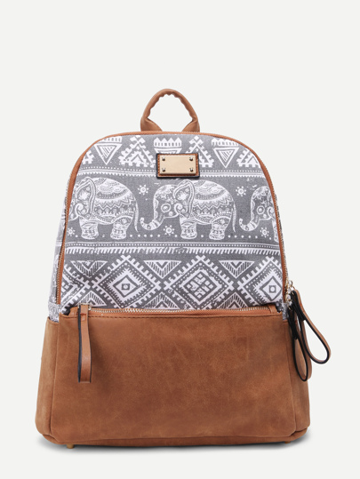 Geo Print Contrast Suede Canvas Backpack