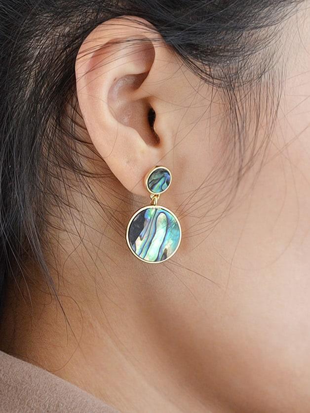 Boho Big Round Geometric Drop Hanging Earrings two tone round flake drop earrings