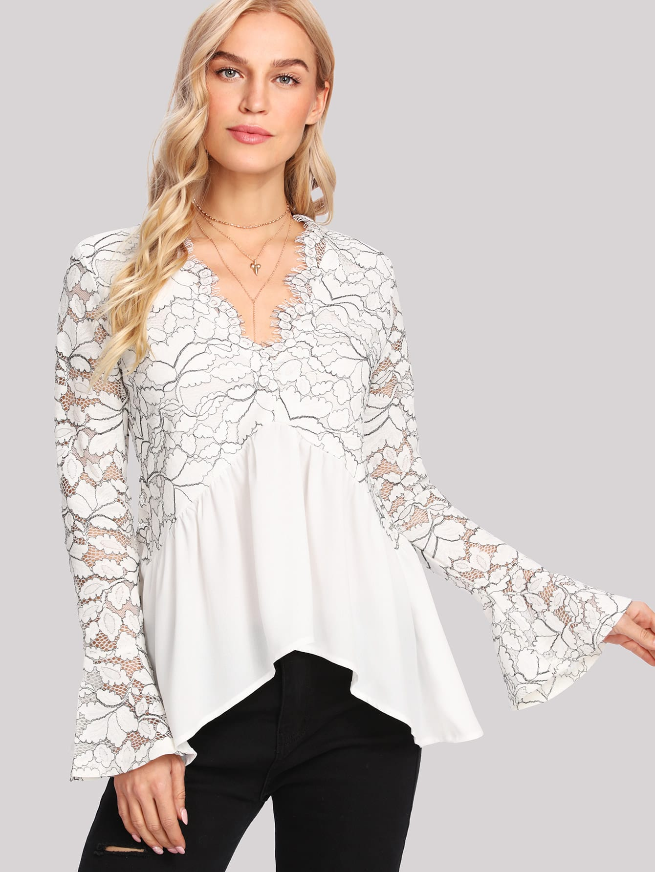 Two Tone Floral Lace Top contrast embroidered two tone plush top