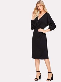 Gathered Sleeve Surplice Wrap Dress