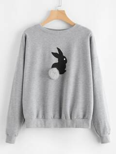 Pom Pom Ball Applique Rabbit Print Pullover