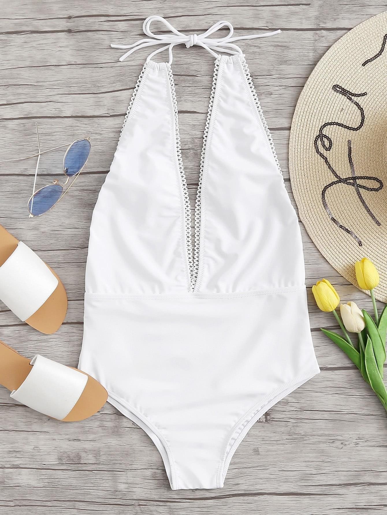 цена Deep V Plunge Backless Swimsuit