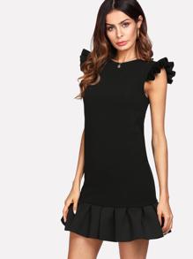 Ruffle Shoulder And Hem Solid Dress
