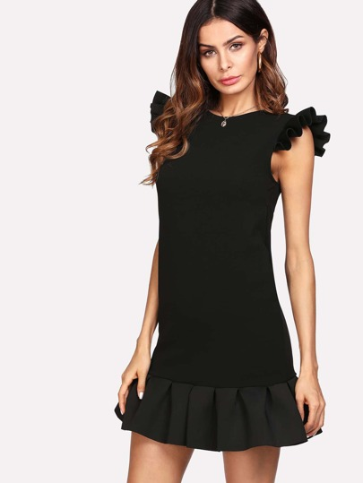 Ruffle Shoulder And Hem Solid Dress