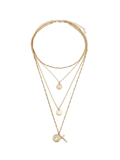 Round & Cross Pendant Layered Chain Necklace