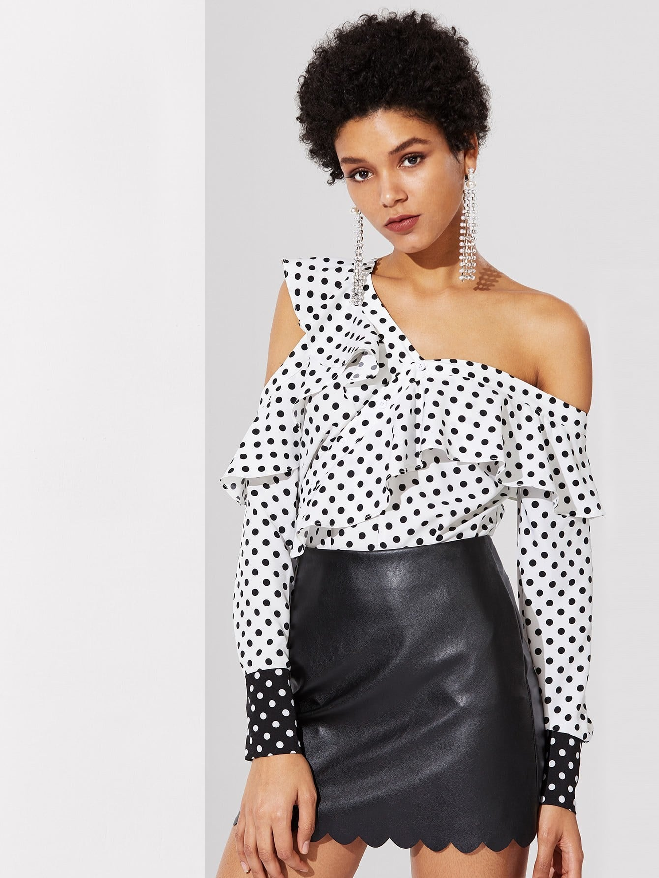 Flounce Asymmetric Shoulder Polka Dot Blouse tiered flounce polka dot blouse