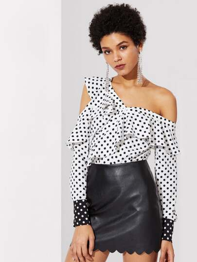 Flounce Asymmetric Shoulder Polka Dot Blouse