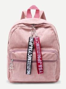 Slogan Ribbon Corduroy Backpack