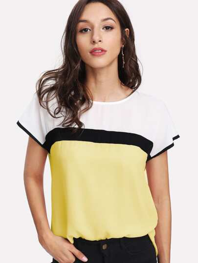 Top tunique color-block
