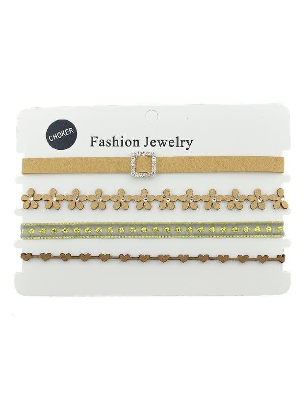 Lace Choker Necklace Set flower geometric bar choker necklace set