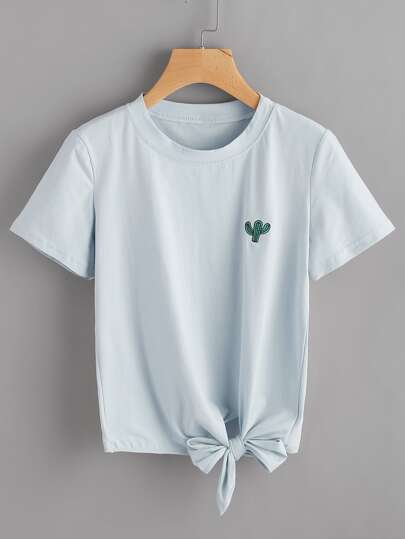 Cactus Embroidered Knot Side Tee