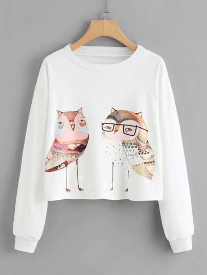Cartoon Owls Print Crop Sweatshirt