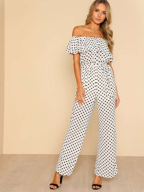 4a19308e6b46 Off Shoulder Polka Dot Ruffles and Belt Jumpsuit WHITE