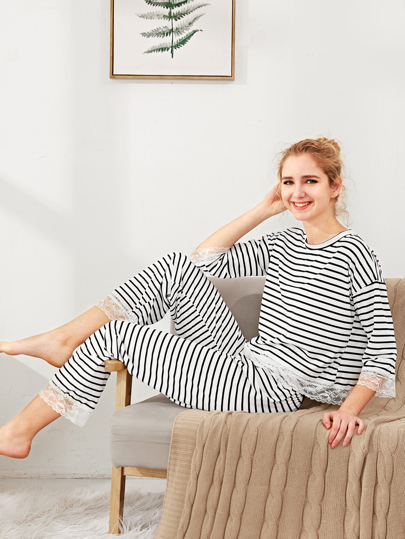 Contrast Lace Trim Striped Pajama Set