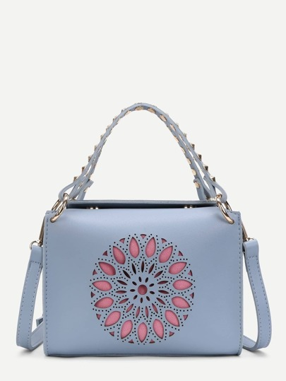 Cut Out PU Shoulder Bag With Studded