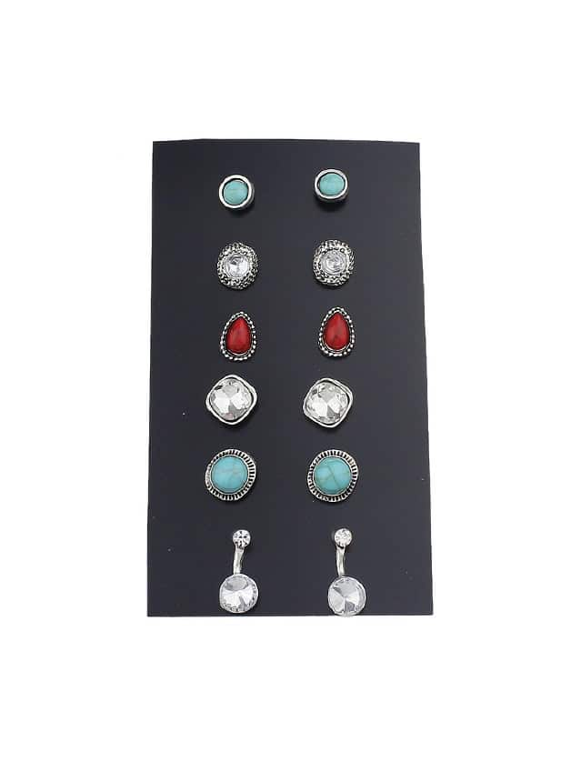 6 Pairs/Set Red Blue Color Rhinestone Jewelry Stud Earring Set
