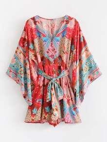 Self Tie Floral Print Kimono Romper