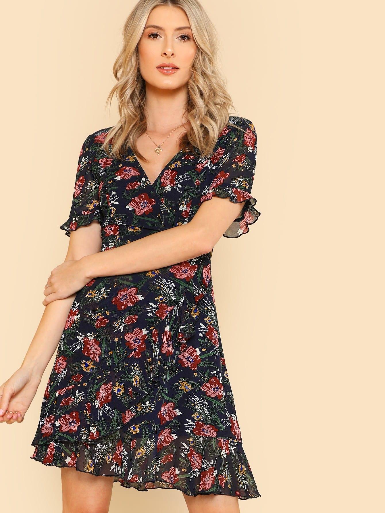 Купить Модное платье с запахом и цветочным принтом, Brittany Lucas, SheIn