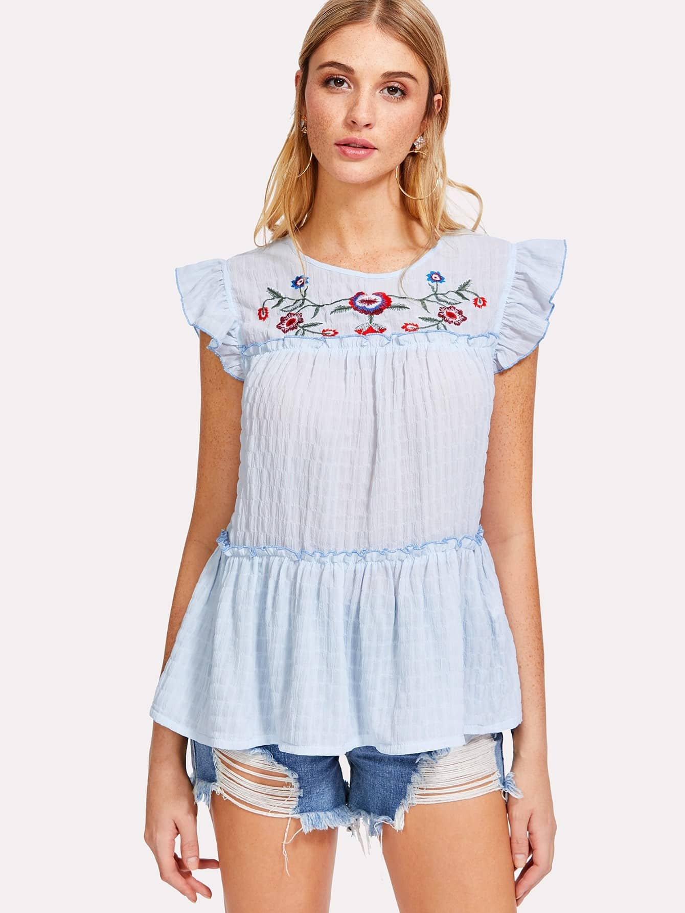 Embroidered Yoke Frilled Babydoll Top frilled collar lace yoke sleeveless top