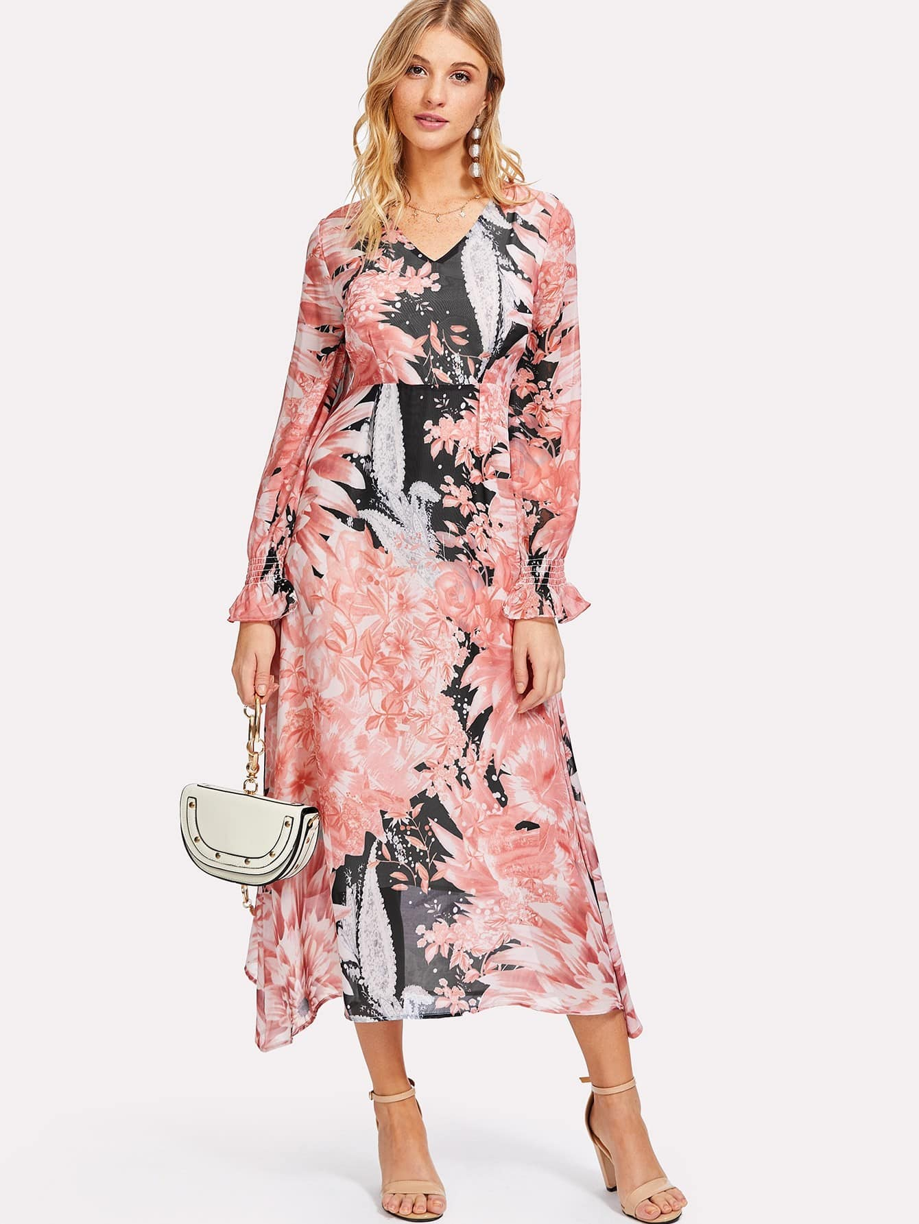 цена на Ruffle Sleeve Floral Print Long Dress