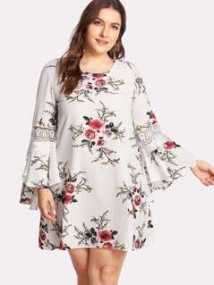Plus Lace Insert Ruffle Sleeve Floral Dress