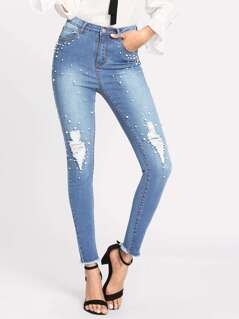 Pearl Beaded Raw Hem Ripped Jeans