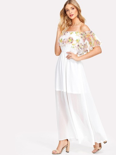 Semi Sheer Embroidered Flounce Bardot Dress