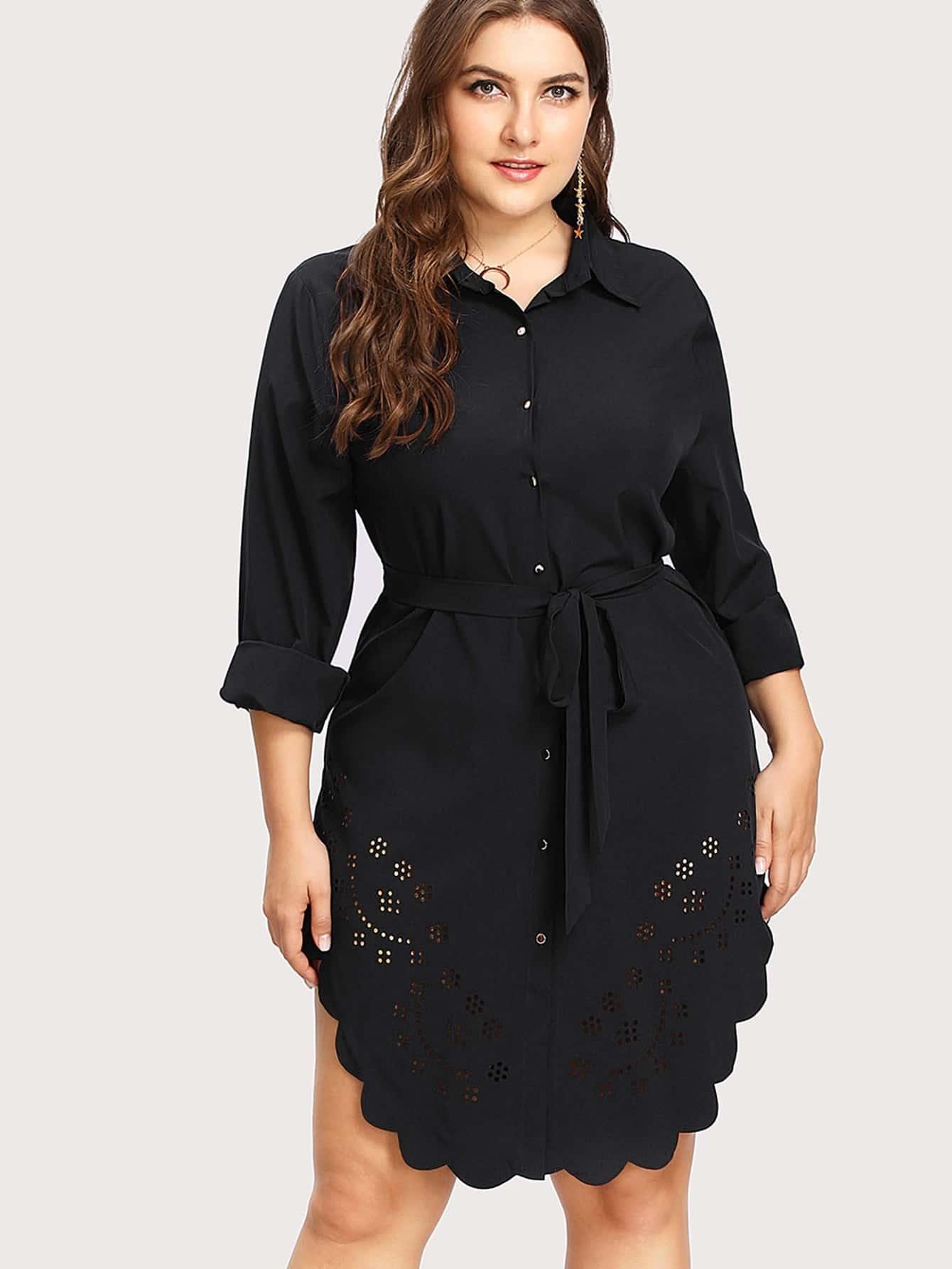 Laser Cut Scallop Hem Shirt Dress