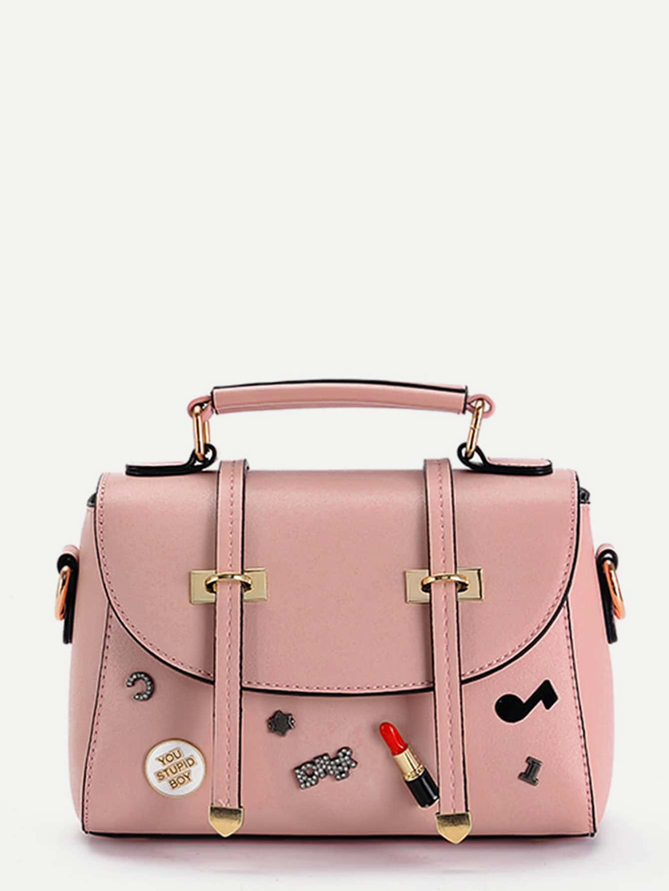 Piping Detail PU Shoulder Bag With Patch patch detail combination bag with clutch bag