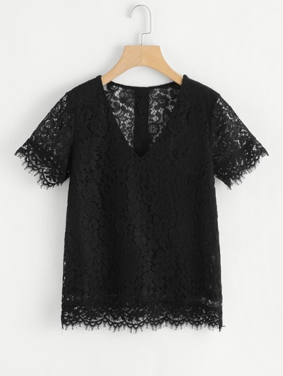 Button Back Floral Lace Top