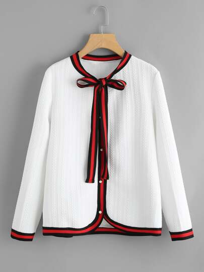 Striped Trim Tie Neck Pearl Button Jersey Cardigan