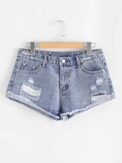 Cuffed Distressed Mini Denim Shorts