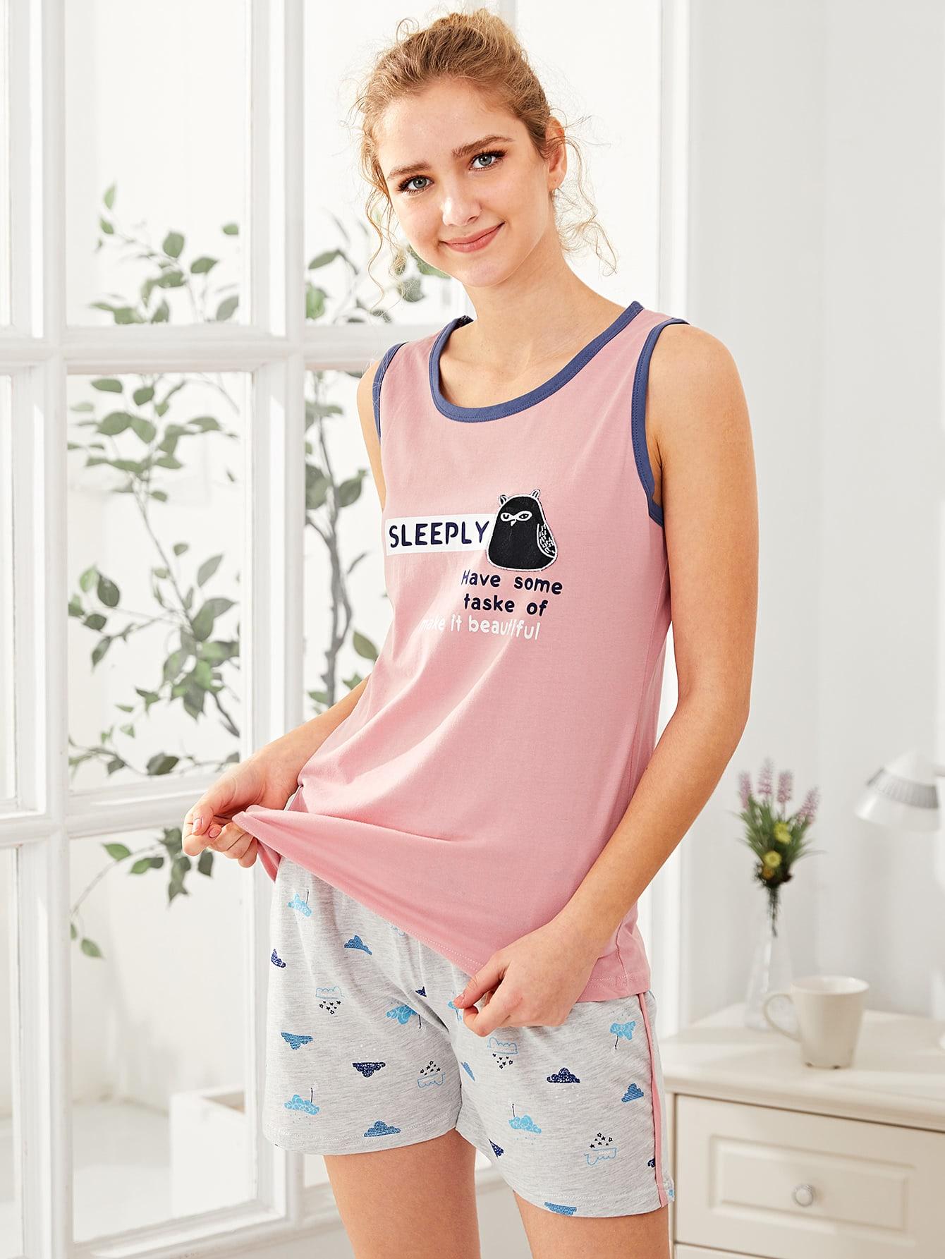 Cartoon Patch Tank Top & Shorts PJ Set rolled up sleeve top and leopard print shorts pj set