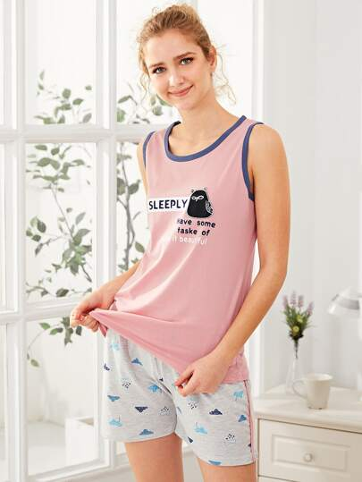 Cartoon Patch Tank Top & Shorts PJ Set