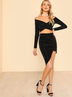 Cross Wrap Bardot Top & Asymmetric Skirt Set