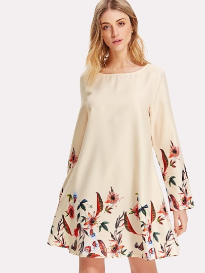 Short Sleeve Botanical Tunic Dress