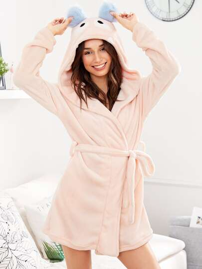 Cartoon Hood Belted Fleece Robe