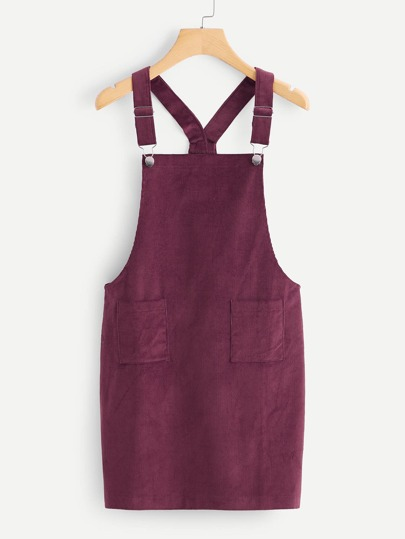 Dual Pocket Corduroy Pinafore Dress