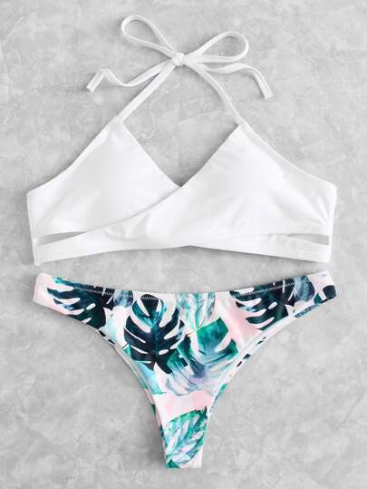 Ensemble de bikini tropical croisé