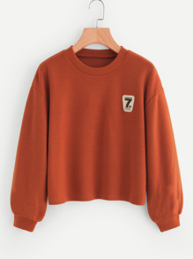 Lantern Sleeve Patch Detail Sweatshirt