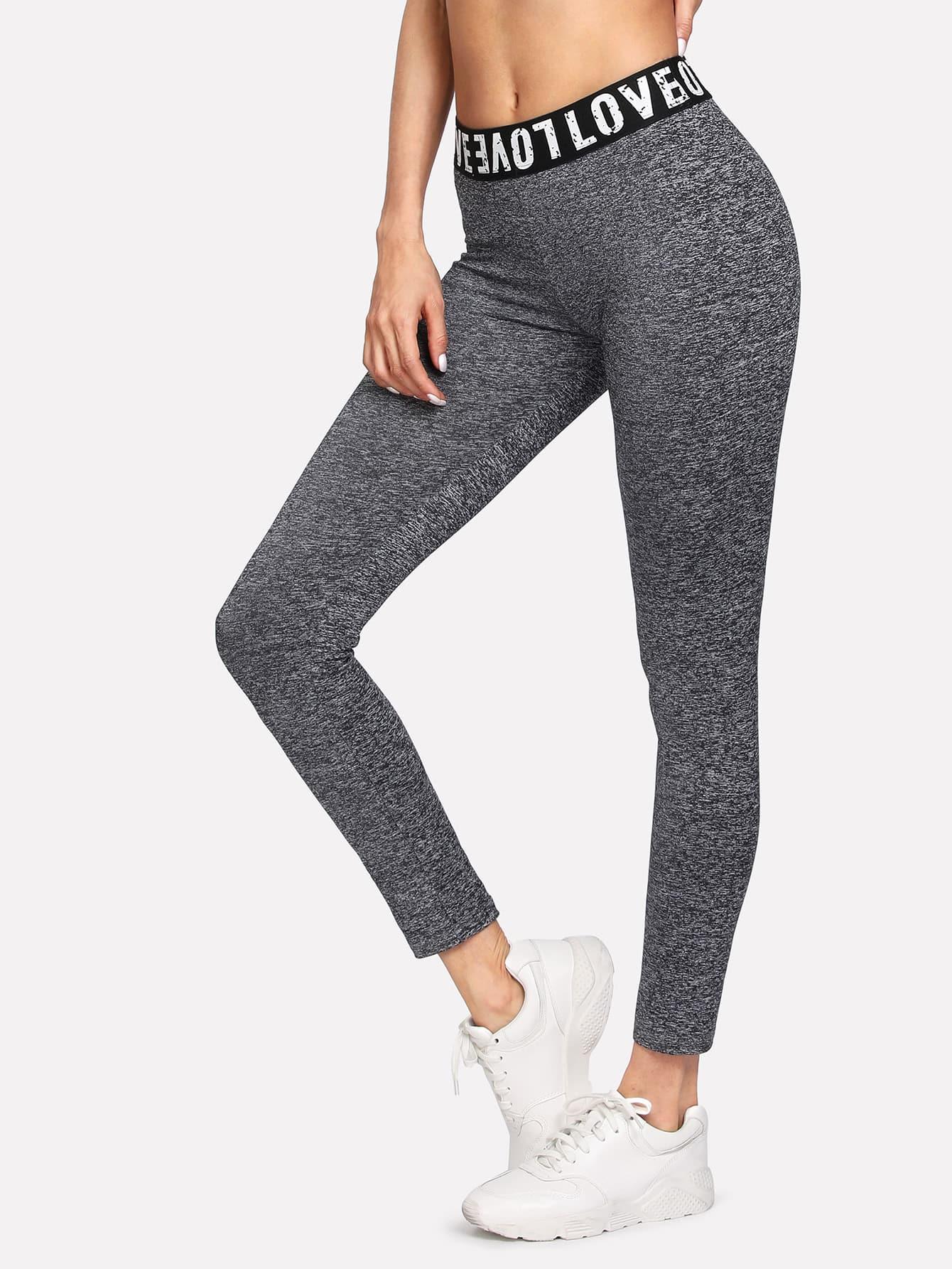 Slogan Print Stretchy Skinny Leggings stretchy printed leggings