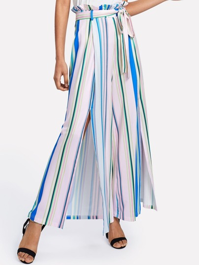 Ruffle Waist Self Belted Striped Wide Leg Pants