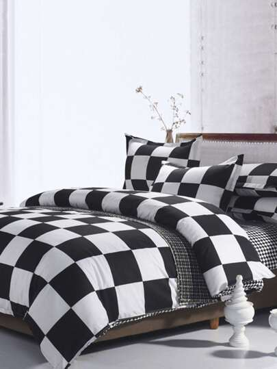 2.0m 4Pcs Check Print Duvet Cover Set