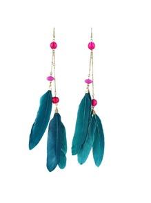 Beads Blue Feather Long Dangle Earrings