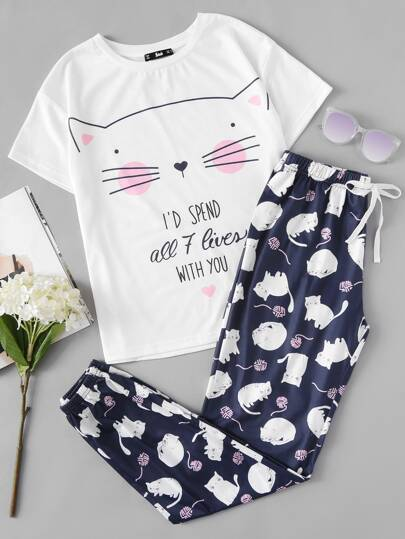Cat Print Tee And Pants Pajama Set