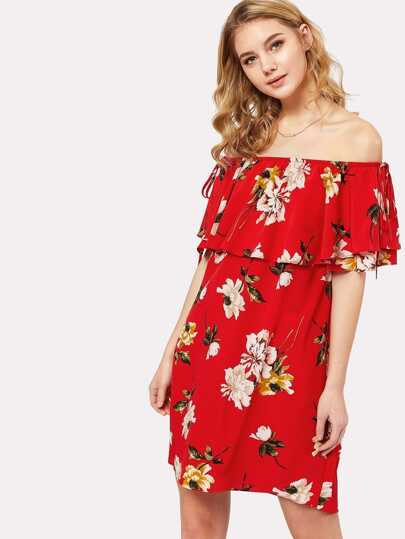 Floral Flounce Bardot Dress