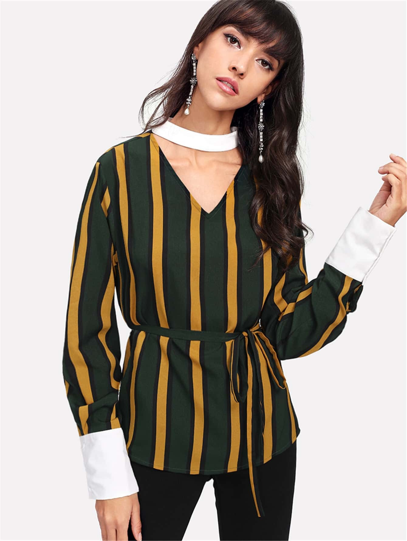 Contrast Choker Neck And Cuff Striped Blouse цена и фото