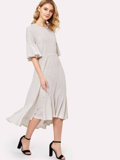 Ruffle Sleeve And Hem Striped Dress