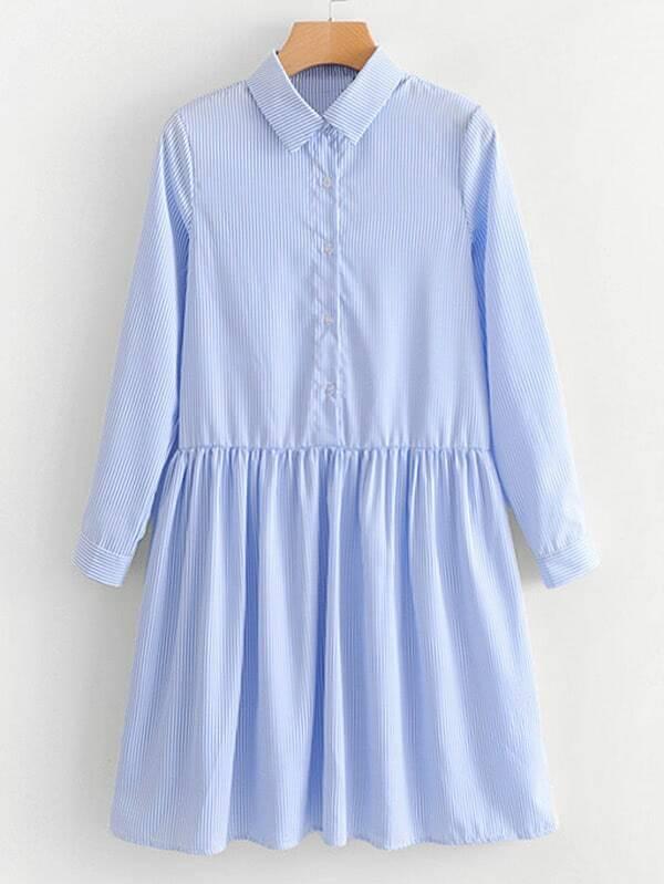 Striped Babydoll Shirt Dress rdre180124203